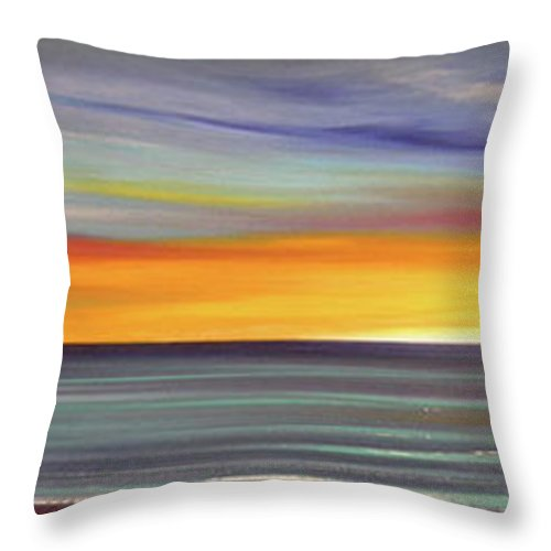 Sunset Throw Pillow featuring the painting In The Moment Panoramic Sunset by Gina De Gorna