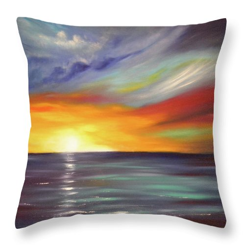 Brown Throw Pillow featuring the painting In The Moment Square Sunset by Gina De Gorna