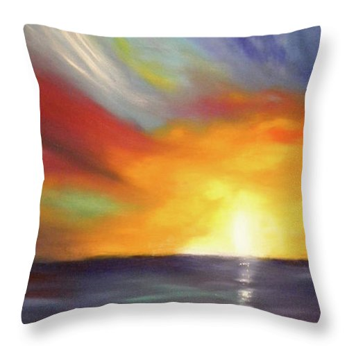 Sunset Throw Pillow featuring the painting In The Moment - Vertical Sunset by Gina De Gorna