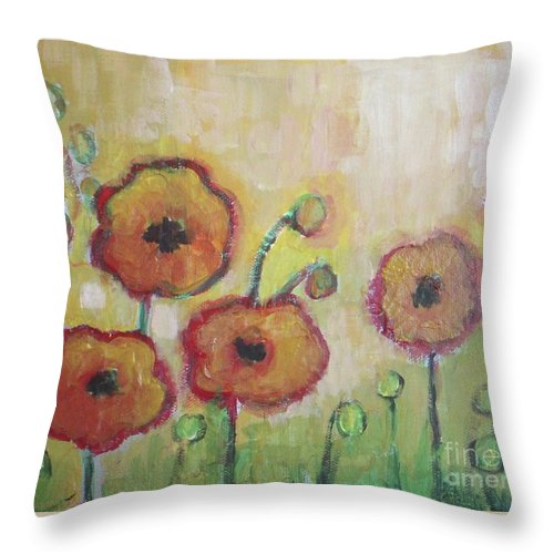Poppies Throw Pillow featuring the painting Poppies At Dusk by Vesna Antic