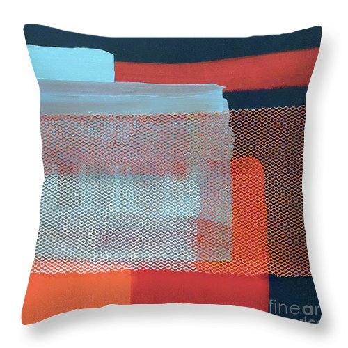 Navy Blue Industrial Abstract Throw Pillow featuring the painting In The Navy by Jilian Cramb - AMothersFineArt
