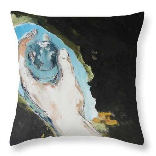 Hand Throw Pillow featuring the painting In The Palm Of My Hand by Craig Newland