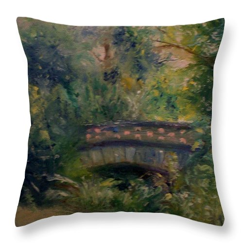Landscape Throw Pillow featuring the painting In The Park by Stephen King