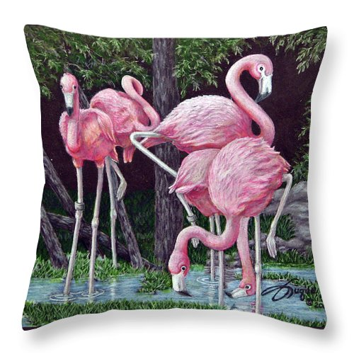 Fuqua Gallery-bev-artwork. Wildlife Throw Pillow featuring the drawing In The Pink by Beverly Fuqua