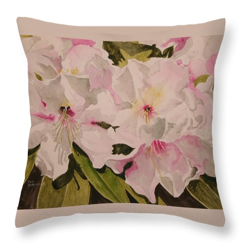 Pink Throw Pillow featuring the painting In The Pink by Jean Blackmer