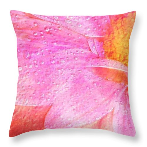 Flower Pink Digital Painting Art Design Macro Bubbles Throw Pillow featuring the photograph In The Pink by Linda Sannuti