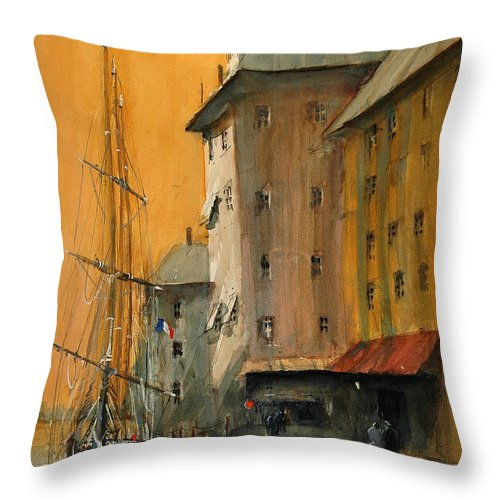 Watercolor Throw Pillow featuring the painting In the Port of Marseille by Charles Rowland