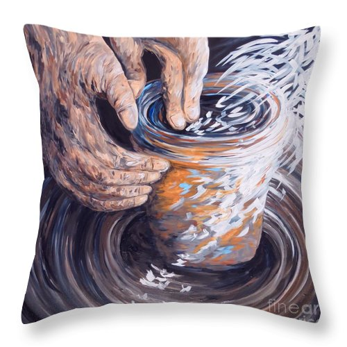 Christian Throw Pillow featuring the painting In The Potter's Hands by Eloise Schneider Mote