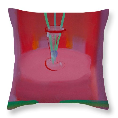Vase Throw Pillow featuring the painting In The Red Room by Charles Stuart
