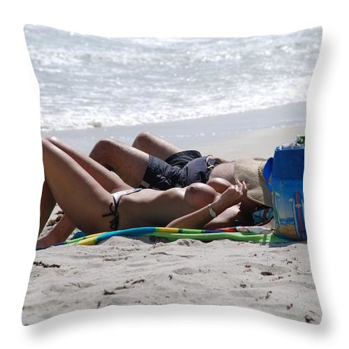 Nude Throw Pillow featuring the photograph In The Sand At Paradise Beach by Rob Hans