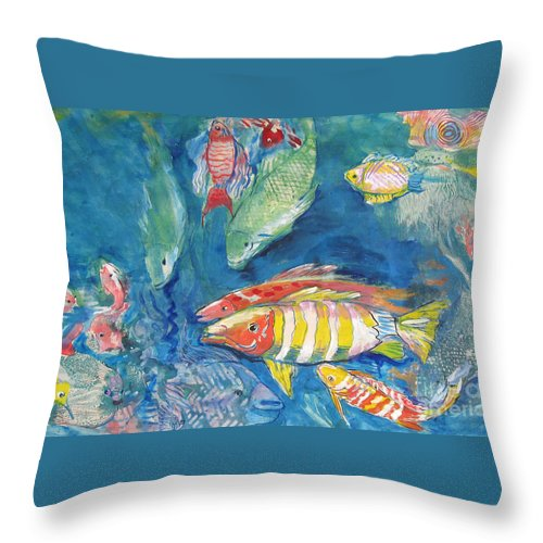 Water Throw Pillow featuring the painting In the Sea by Guanyu Shi