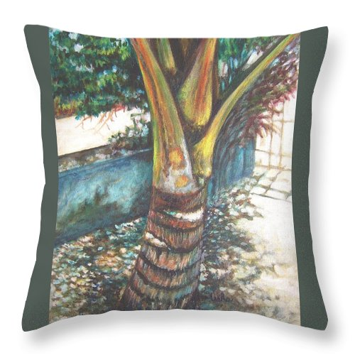 Shade Throw Pillow featuring the painting In The Shade by Usha Shantharam