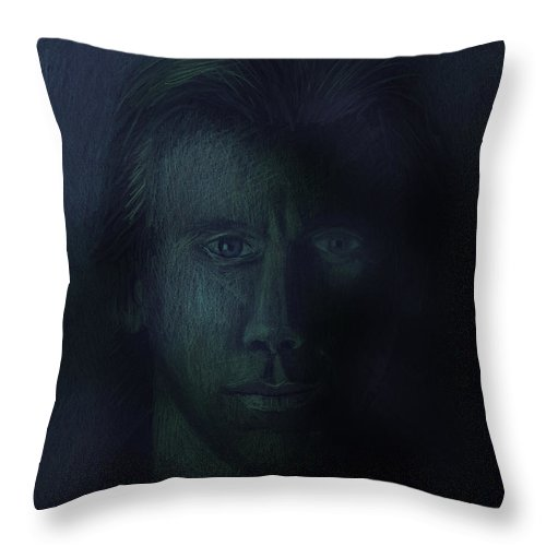 Dark Throw Pillow featuring the pastel In The Shadows Of Despair by Arline Wagner