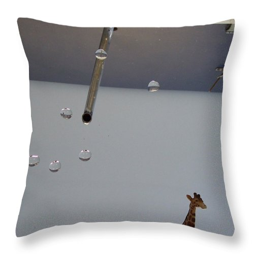 Giraffe Throw Pillow featuring the photograph In The Sink by Michelle Miron-Rebbe