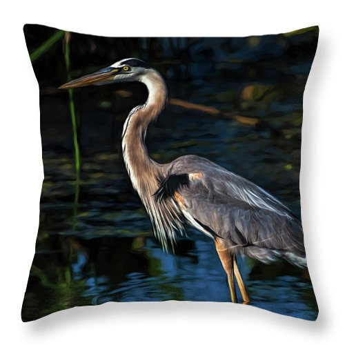 Heron Throw Pillow featuring the photograph In The Stillness by Cyndy Doty