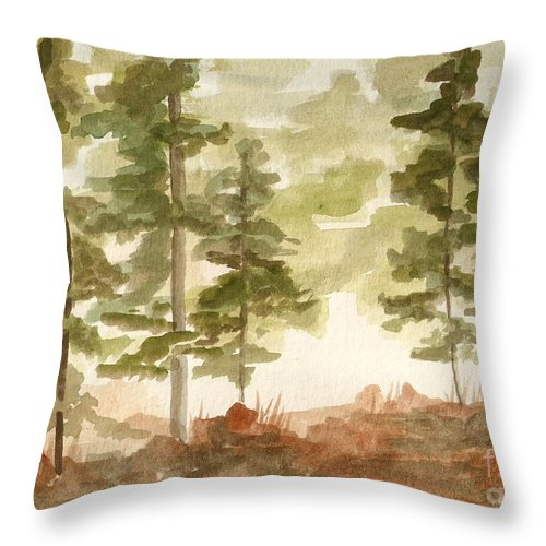 Trees Throw Pillow featuring the painting In the Trees by Jackie Mueller-Jones