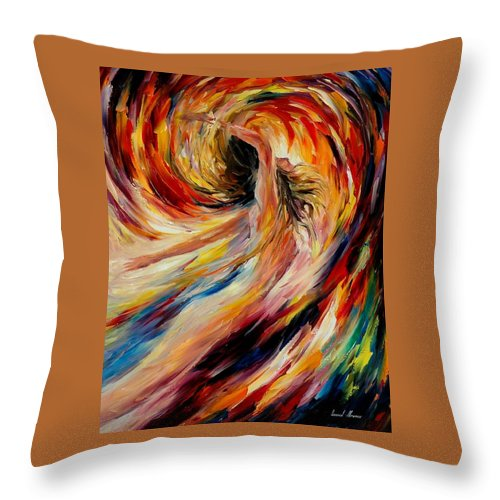 Nude Throw Pillow featuring the painting In The Vortex Of Passion by Leonid Afremov