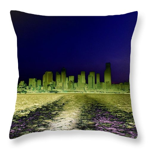 Seattle Throw Pillow featuring the photograph In The Wake by Tim Allen