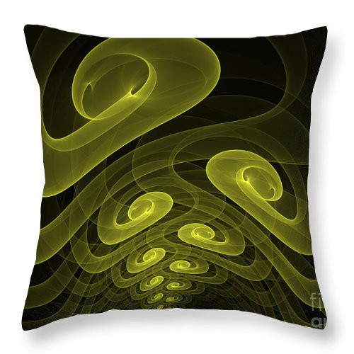 Apophysis Fractal Yellow Canvas Framed Cards Sell Art Throw Pillow featuring the mixed media In The Yellow Tunnel by Deborah Benoit