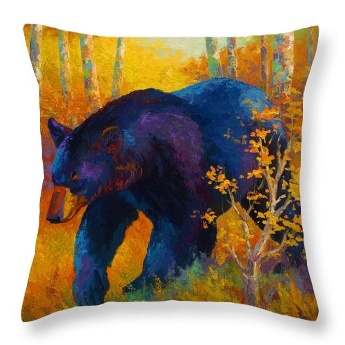 Bear Throw Pillow featuring the painting In To Spring - Black Bear by Marion Rose