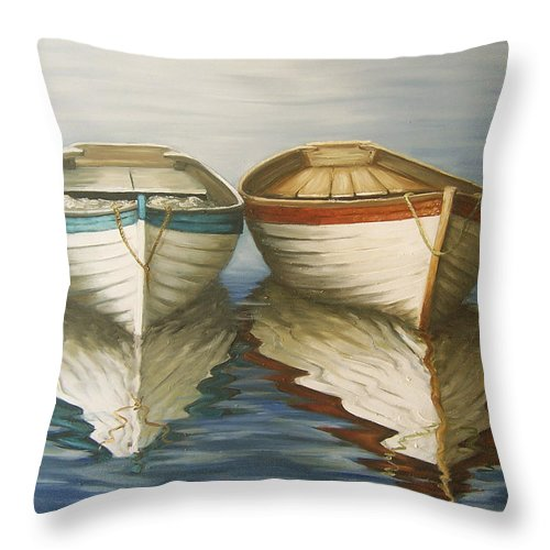 Seascape Ocean Reflection Water Boats Sea Throw Pillow featuring the painting In Touch by Natalia Tejera