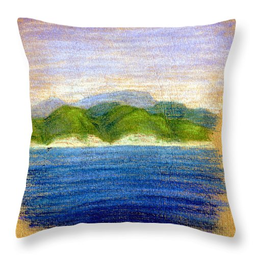 Tuapse Throw Pillow featuring the pastel In View Of Tuapse by Alexandra Cook