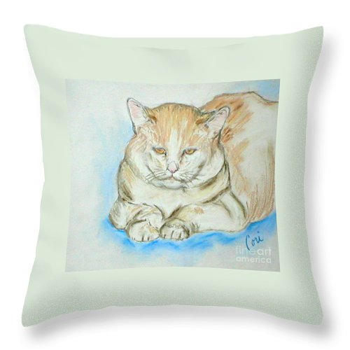 Pastel Throw Pillow featuring the drawing In Waiting by Cori Solomon