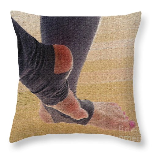 Warm Up Throw Pillow featuring the photograph In Warm Up Tights Relaxed Position by Nina Silver