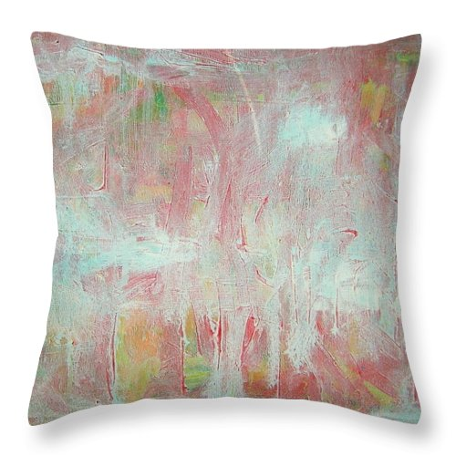 Abstract Throw Pillow featuring the painting In Winter--the Nowhere Forest by Judith Redman