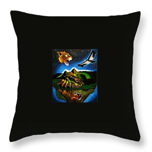 Machu Picchu Throw Pillow featuring the painting Inca's Trilogy II by Gustavo Oliveira