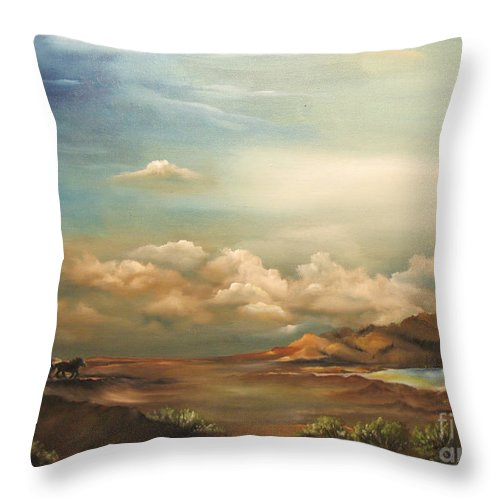 Mountains Throw Pillow featuring the painting Incentive by Carol Sweetwood