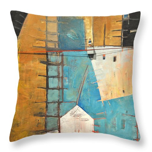 Abstract Throw Pillow featuring the painting Incident At Harpers Corner by Tim Nyberg