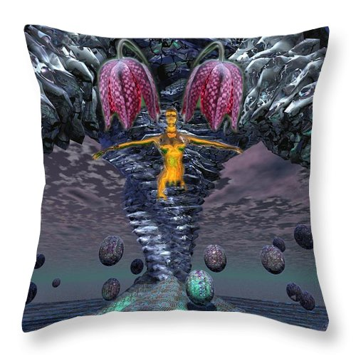 3d Computer Nude Woman Gold Fantasty Throw Pillow featuring the digital art Incoming by Dave Martsolf