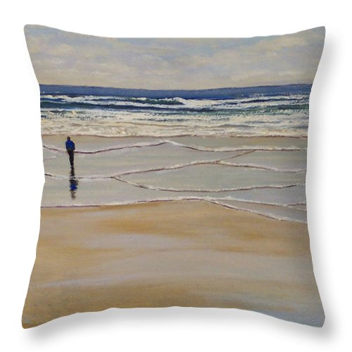 Beach Walk Throw Pillow featuring the painting Incoming Tide by Frank Wilson