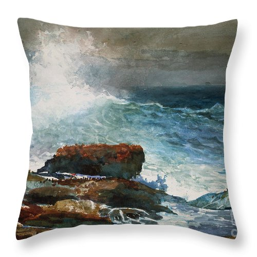 Incoming Tide Throw Pillow featuring the painting Incoming Tide Scarboro Maine by Celestial Images