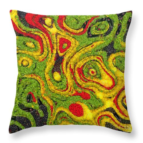 Abstract Throw Pillow featuring the painting Incubus by Dragica Micki Fortuna