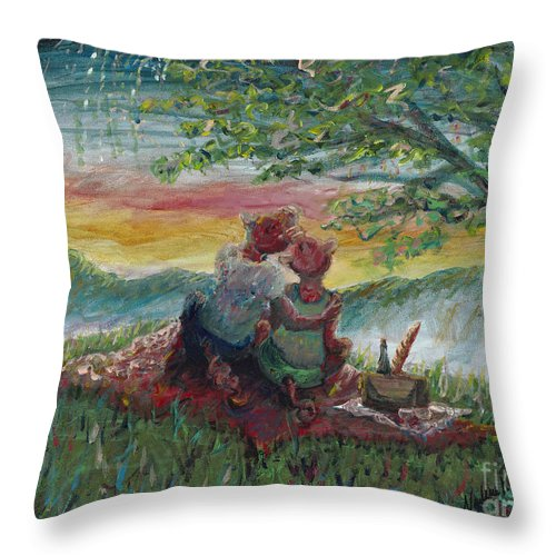 Landscape Throw Pillow featuring the painting Independance Day Pignic by Nadine Rippelmeyer