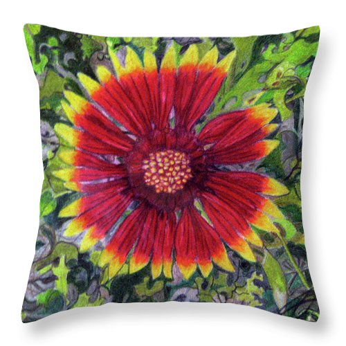 Fuqua - Artwork Throw Pillow featuring the drawing Indian Blanket by Beverly Fuqua