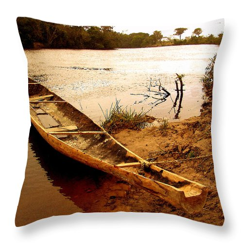 Indian Throw Pillow featuring the photograph Indian Boat by Galeria Trompiz