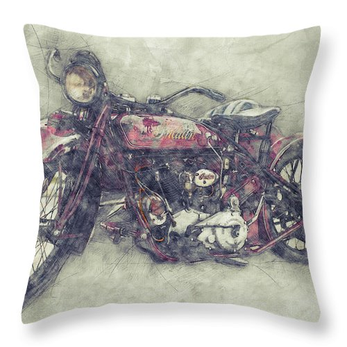 Indian Chief Throw Pillow featuring the mixed media Indian Chief 1 - 1922 - Vintage Motorcycle Poster - Automotive Art by Studio Grafiikka