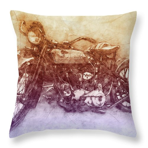 Indian Chief Throw Pillow featuring the mixed media Indian Chief 2 - 1922 - Vintage Motorcycle Poster - Automotive Art by Studio Grafiikka