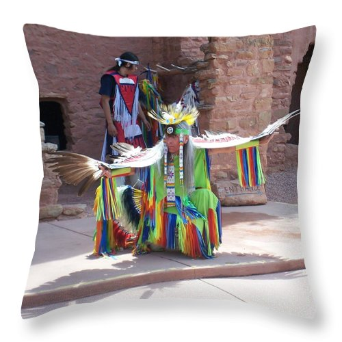 Indian Dancer Throw Pillow featuring the photograph Indian Dancer by Anita Burgermeister