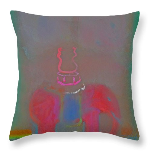 Elephant Throw Pillow featuring the painting Indian Elephant 2 by Charles Stuart