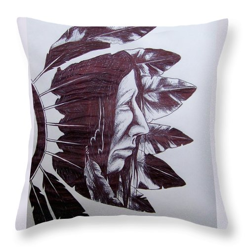 Indian Feathers Throw Pillow featuring the drawing Indian Feathers by Michael TMAD Finney