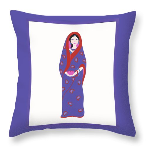 Indian Girl Throw Pillow featuring the painting Indian Girl by Barbara Leonard
