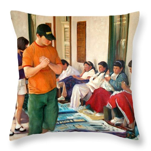 Realism Throw Pillow featuring the painting Indian Market by Donelli DiMaria