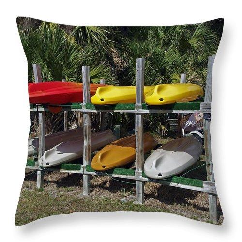 Kayak Throw Pillow featuring the photograph Indian River In Florida by Allan Hughes