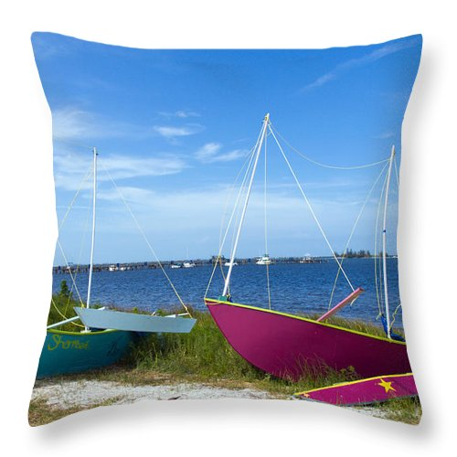 Sail; Sailing; Boat; Sailboat; Mast; Plywood; Homemade; Boy; Scouts; Fleet; Class; Dragon; Tiller; F Throw Pillow featuring the photograph Indian River Lagoon On The Easr Coast Of Florida by Allan Hughes