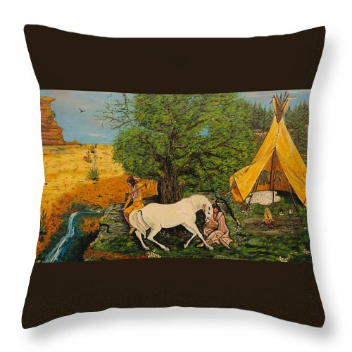 Horses Throw Pillow featuring the painting Indian Romance by V Boge