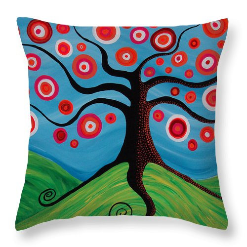 Tree Throw Pillow featuring the painting Indian Summer by Pamela Cisneros